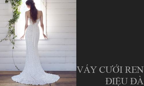 Váy cưới ren điệu đà cho cô dâu lãng mạn